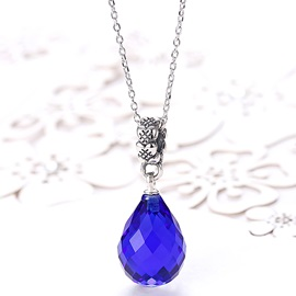 Blue Water Droplets Pendant 925 Silver Necklace