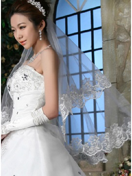 Attractive Tidebuy Elbow Wedding Veil With Lace Applique Edge