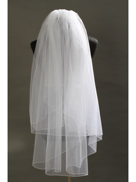 Charming 2 Layer Fingertip White Tull Wedding Bridal Veil