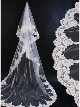 Charming Tidebuy Chapel Wedding Bridal Veil with Lace Applique Edge