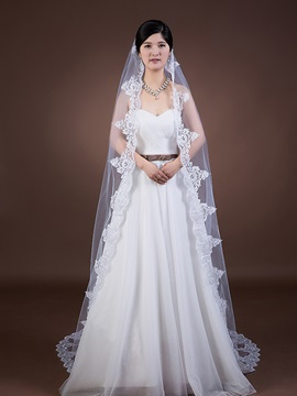 Lace Edge Cathedral Bridal Veil with Comb