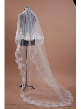 Brilliant Cathedral Length White Tulle Wedding Veil