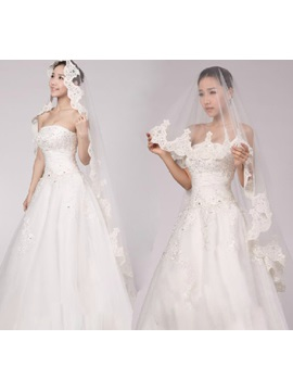 Delicate Tidebuy Cathedral Length White Tulle Wedding Veil