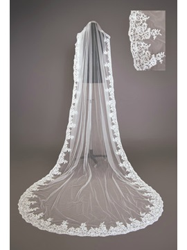 Fabulous Tidebuy Cathedral Length White Lace Wedding Veil