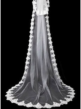 Stylish Cathedral Length White Lace Wedding Veil