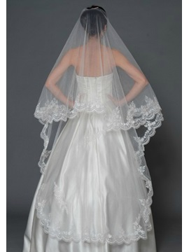Bright Cathedral Length White Lace Wedding Veil