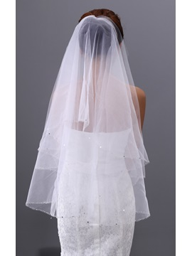 Simple Tidebuy Elbow Wedding Veil with Edge Sequins