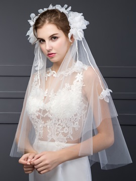 Simple Flower Tulle Wedding Veil