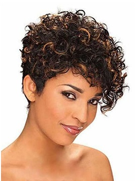 Top Quality Short Curly Capless Human Hair Wig 10 Inches