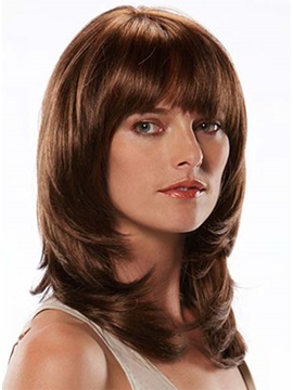Attrictive Long Smooth Straight Human Hair Wig about 12 Inches