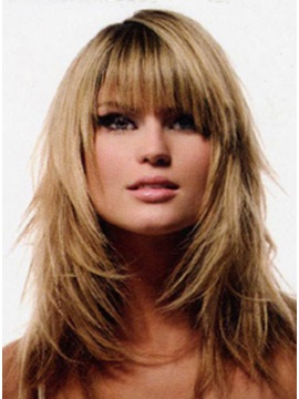 Custom New Layered Style Long Straight 100% Human Hair Wig about 14 Inches