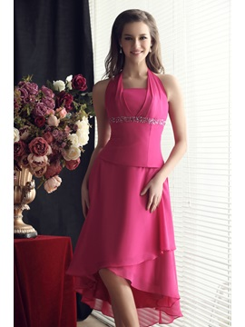 A-Line Asymmetry Halter Beading Empire Waist Sandra's Bridesmaid Dress & Bridesmaid Dresses under 100