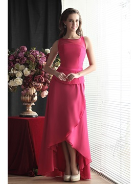 Charming A-Line Asymmetry Jewel Neckline Sandra's Bridesmaid Dress & casual Bridesmaid Dresses