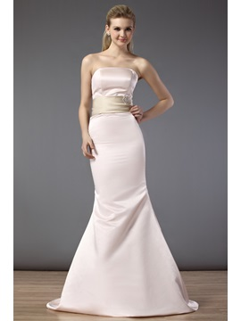 Elegant Beaded Ribbons Mermaid/Trumpet Floor-Length Strapless Bridesmaid Dress & fairytale Bridesmaid Dresses