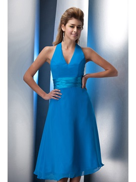 Enchanting Knee Length A-Line Halter Prom/Homecoming Dress & Bridesmaid Dresses from china