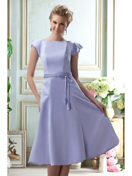 Sashes A-Line Knee-Length Short-Sleeves Homecoming/Event Dress & discount Bridesmaid Dresses