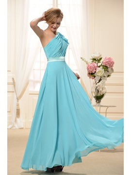 Ruched A-Line One-Shoulder Floor-Length New Bridesmaid Dress & Bridesmaid Dresses under 300