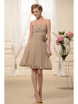 Beautiful Knee-Length Sweetheart Flowers Pleats A-Line Bridesmaid Dress & formal Bridesmaid Dresses