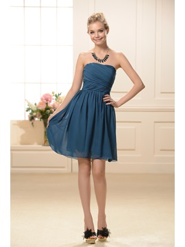 Simple Style Strapless Short A-Line Ruched Bridesmaid Dress & Bridesmaid Dresses for less