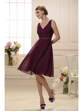 Elegant Cross Over V-neckline Sleeveless Knee Length Bridesmaid Dress & romantic Bridesmaid Dresses