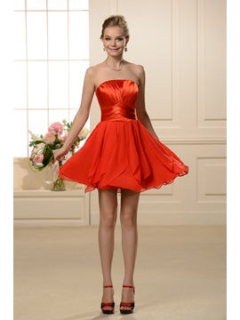 A-line Mini/Short Red Bridesmaid Dress & petite Bridesmaid Dresses