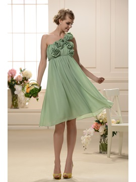 Charming A-Line Flowers One-Shoulder Knee-Length Bridesmaid/Homecoming Dress & attractive Bridesmaid Dresses