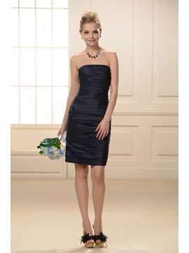 Unique Strapless Pleated Sheath Short Bridesmaid Dress & Bridesmaid Dresses under 100