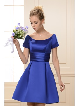 Princess A-Line Scoop Neckline Short Sleeves Knee-Length Bridesmaid Dress & attractive Bridesmaid Dresses