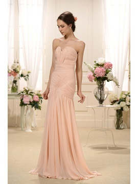 Elegant Pleats Split-front Sweetheart Neckline Trumpet/Mermaid Floor-Length Bridesmaid Dress & Bridesmaid Dresses on sale