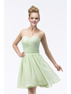 Modern A-line Knee-length Sweetheart Strapless Ruffles Bridesmaid Dress & Bridesmaid Dresses for less
