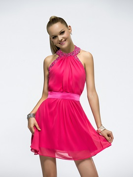 Bright Backless A-Line Halter Beading Short/Mini Bridesmaid Dress & Bridesmaid Dresses under 100