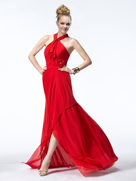 A-Line Halter Asymmetrical Flower Beading Bridesmaid Dress & Bridesmaid Dresses under 500
