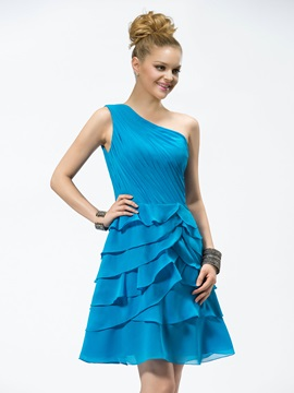 One-Shoulder Ruched Tiered Short/Mini Bridesmaid Dress & Bridesmaid Dresses online