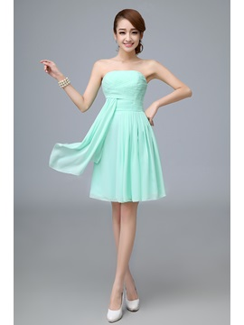 A-Line Strapless Ruffles Empire Pure colour Bridesmaid Dress & romantic Bridesmaid Dresses