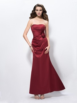 Elegant Strapless Trumpet Flower Ruched Long Evening Dress & casual Bridesmaid Dresses