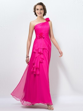 Bright One-Shoulder Flowers Pleats A-Line Long Chiffon Bridesmaid Dress & Bridesmaid Dresses on sale