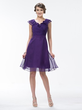 Beautiful Pure Color Knee Length Ruffles Cap Sleeves Bridesmaid Dress & Bridesmaid Dresses for sale