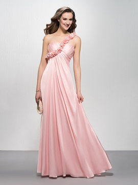 Enchanting A-Line One Shoulder Empire Waist Floral One Shoulder Bridesmaid Dress & Bridesmaid Dresses under 100