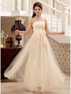 Strapless Floor Length Sash Bridesmaid Dress & affordable Bridesmaid Dresses