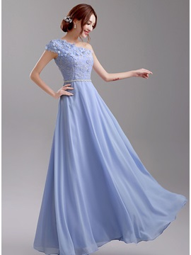 Unique Floor Length Floral One Shoulder Blue Bridesmaid Dress & Bridesmaid Dresses for sale