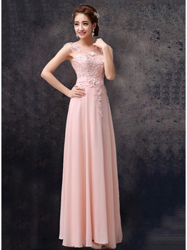 Lace Appliques Scoop Neck Floor Length Pink Chiffon Bridesmaid Dress & Bridesmaid Dresses under 100