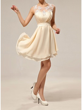 Simple Style Sheer Jewel Neck Chiffon Knee Length Short Bridesmaid Dress & Bridesmaid Dresses under 100