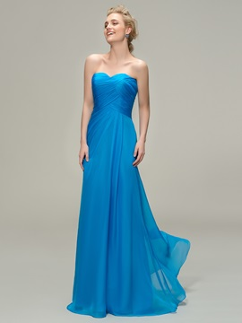 Strapless Sweetheart Blue Chiffon Long Bridesmaid Dress & Bridesmaid Dresses online