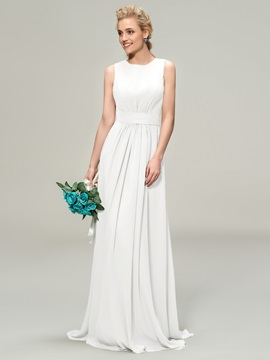 Jewel Neck Floor Length A-Line Bridemaid Dress & petite Bridesmaid Dresses