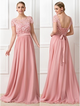 Lace Scoop Neck Short Sleeve Long Bridesmaid Dress & quality Bridesmaid Dresses