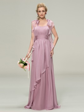 Trendy Straps Ruched Chiffon Long Bridesmaid Dress & affordable Bridesmaid Dresses