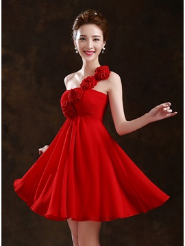 Style Ruched Floral One Shoulder Short Bridesmaid Dress & Bridesmaid Dresses online