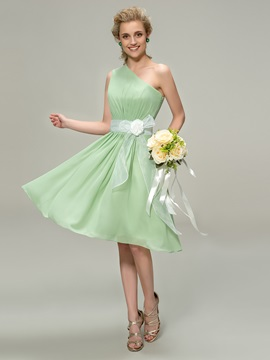 One-Shoulder Short A-Line Bridesmaid Dress with Organza Flower Sash & fairy Bridesmaid Dresses
