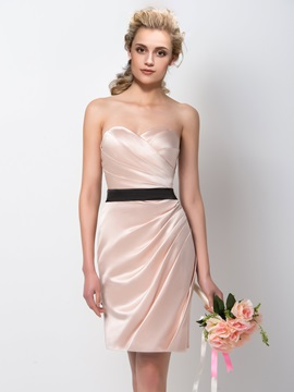 Gorgeous Ruched Sweetheart Sheath Knee Length Bridesmaid Dress & colorful Bridesmaid Dresses