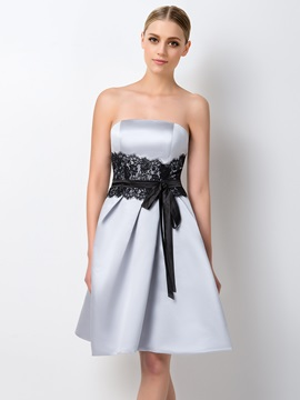 Elegant Strapless Short A-Line Gray Bridesmaid Dress & Bridesmaid Dresses on sale